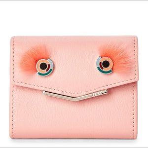 Fendi Monster Eyes Mink-trimmed Card Wallet